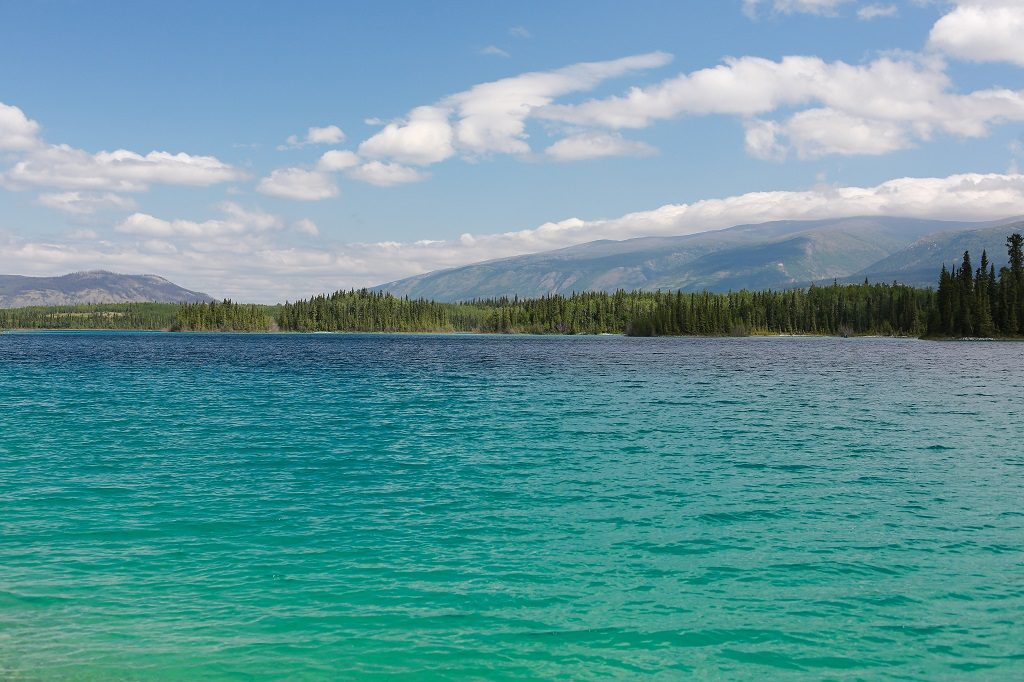 Turquoise waters lined by a dense forest at the base of a mountain range.