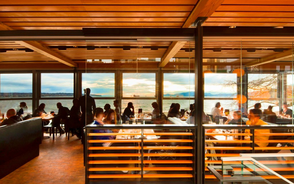 Interior of Cactus Club's restaurant on English Bay, Vancouver