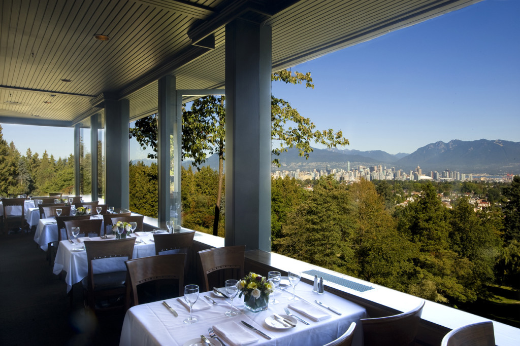 The patio at Seasons in the Park, with a view of Vancouver
