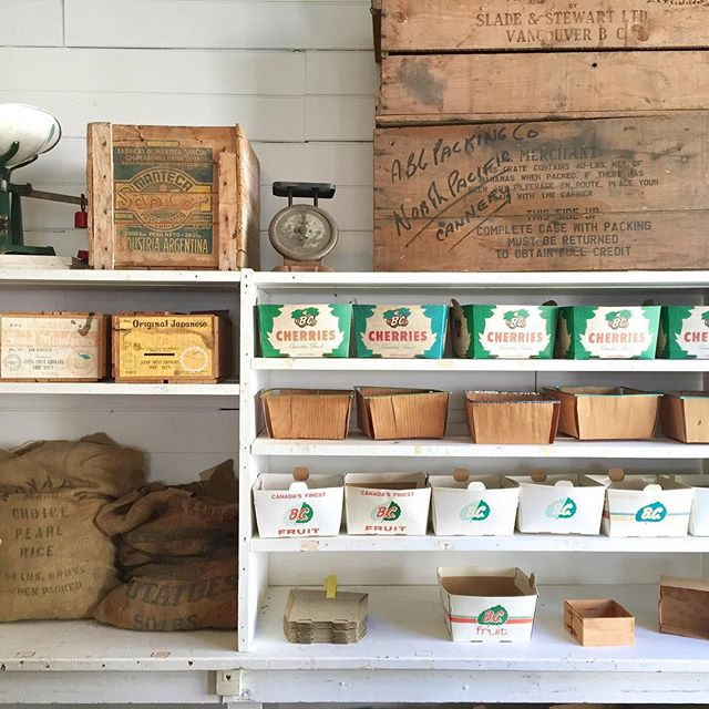 White, brown, yellow and turquoise fruit boxes and brown burlap sacks lining the shelves at the North Pacific Cannery.