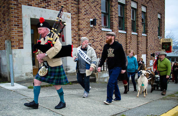 Piper leads the Townsite 2nd Anniversary Parade in Powell River.