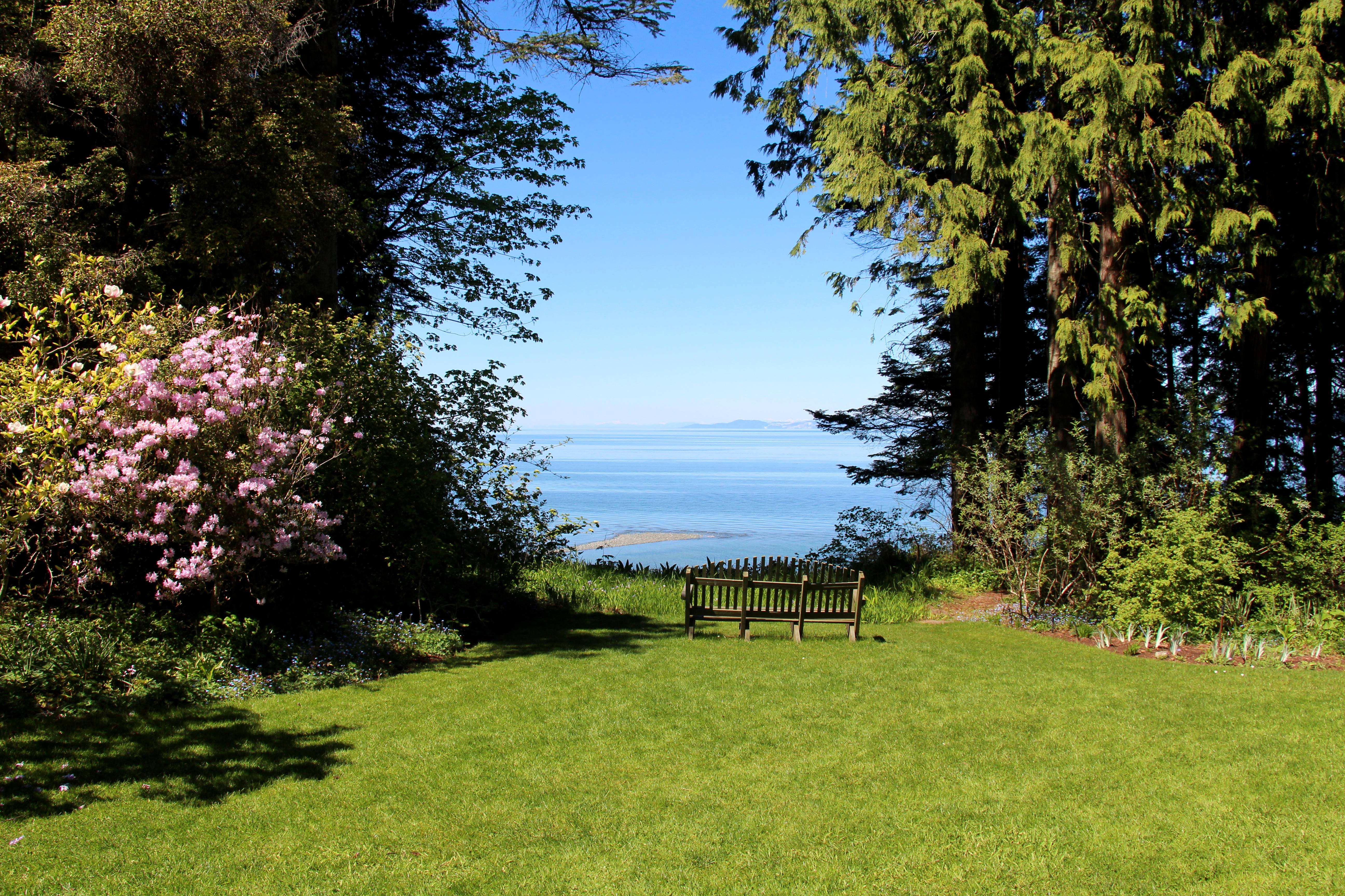 View of the Strait of Georgia from Milner Gardens and Woodland in Qualicum Beach on Vancouver Island