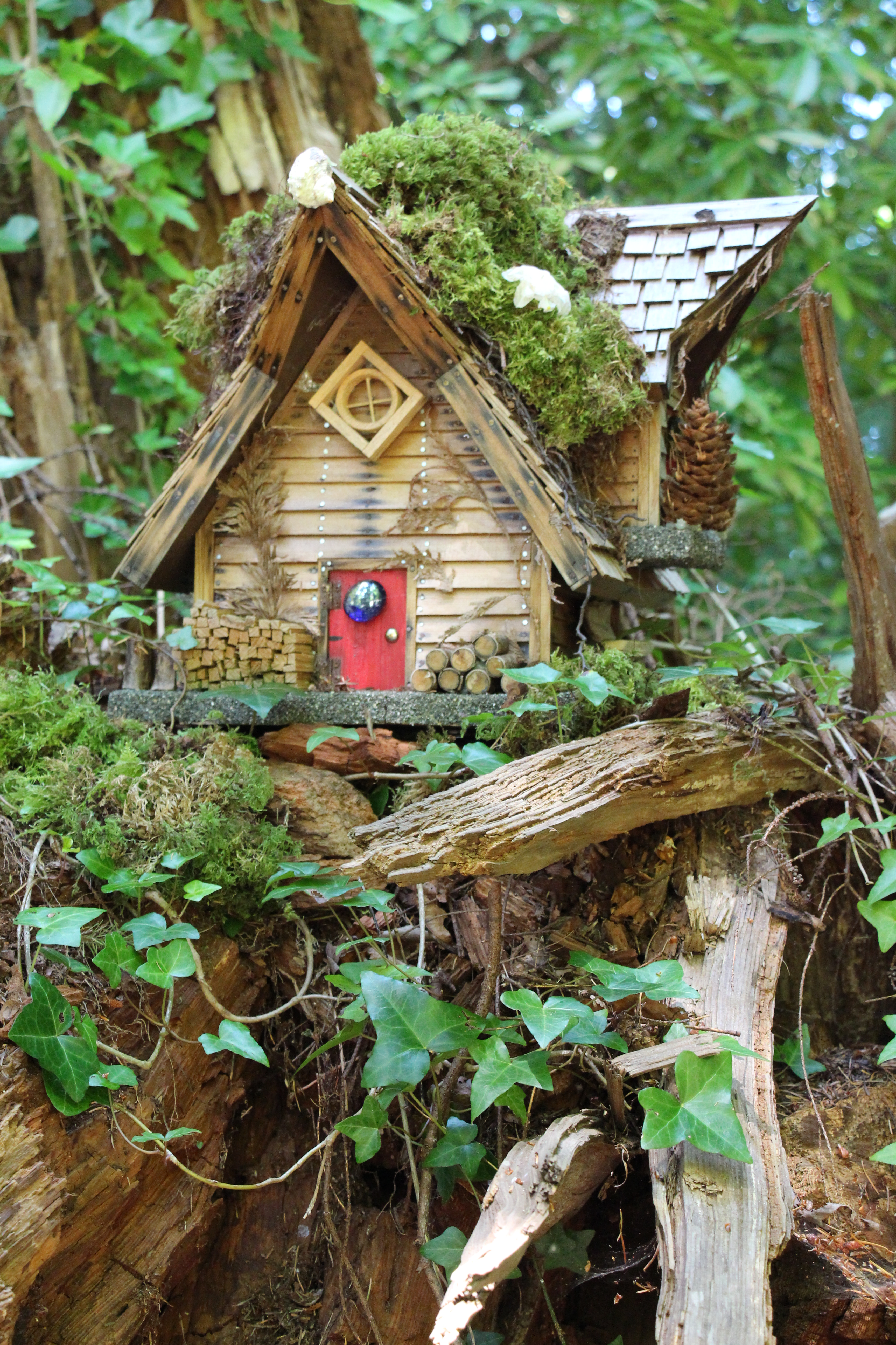 Fairy house at Milner Gardens and Woodland in Qualicum Beach on Vancouver Island