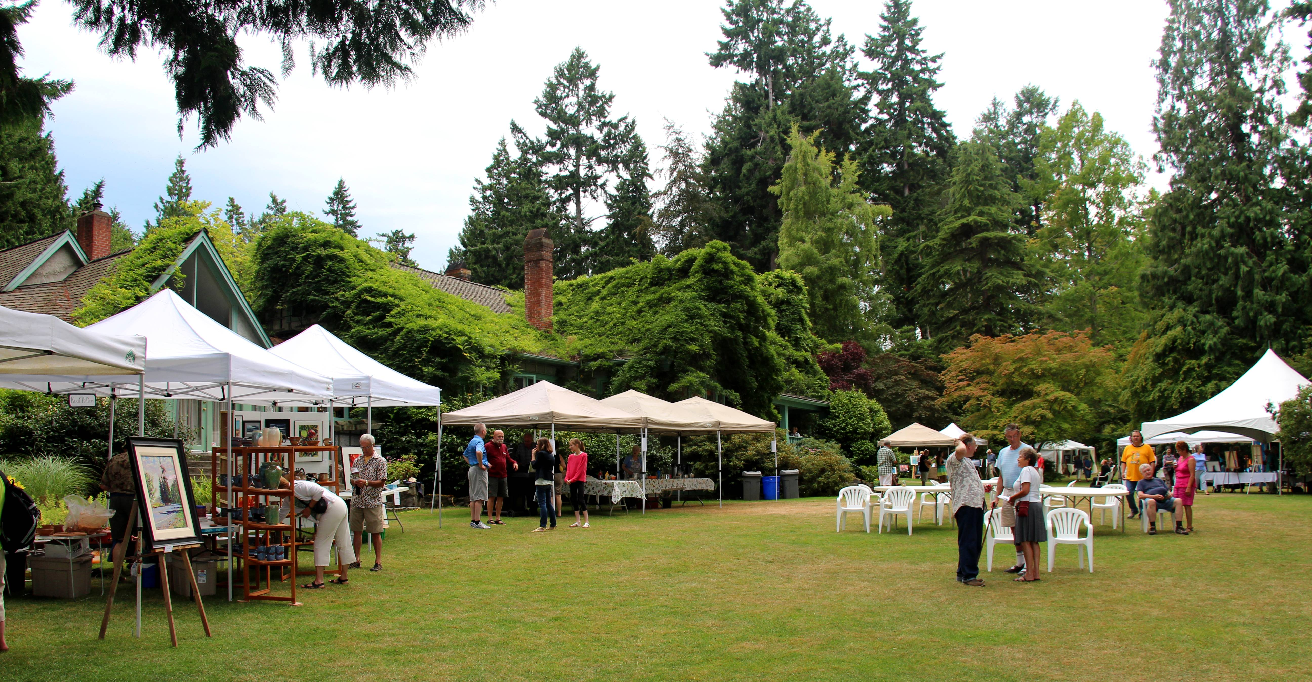 Art and Photography in the Garden at Milner Gardens in Qualicum Beach on Vancouver Island