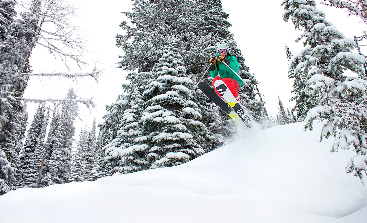 Keeping tight ski turns between the trees at Whitewater Ski Resort in Nelson. Photo: Gina Bégin