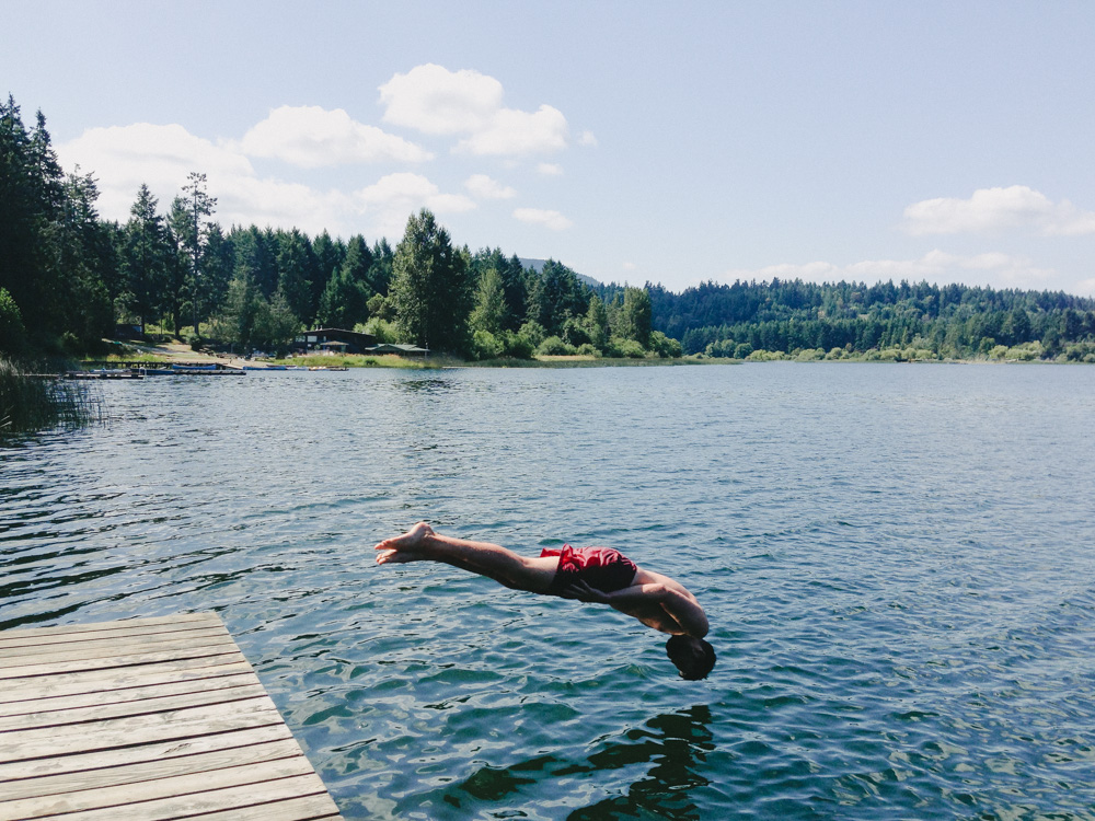 Swimming in St Mary's Lake, Saltspring Island