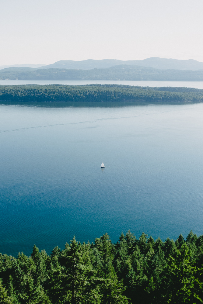Looking out over the beautiful island blues of Prevost and Saltspring Islands