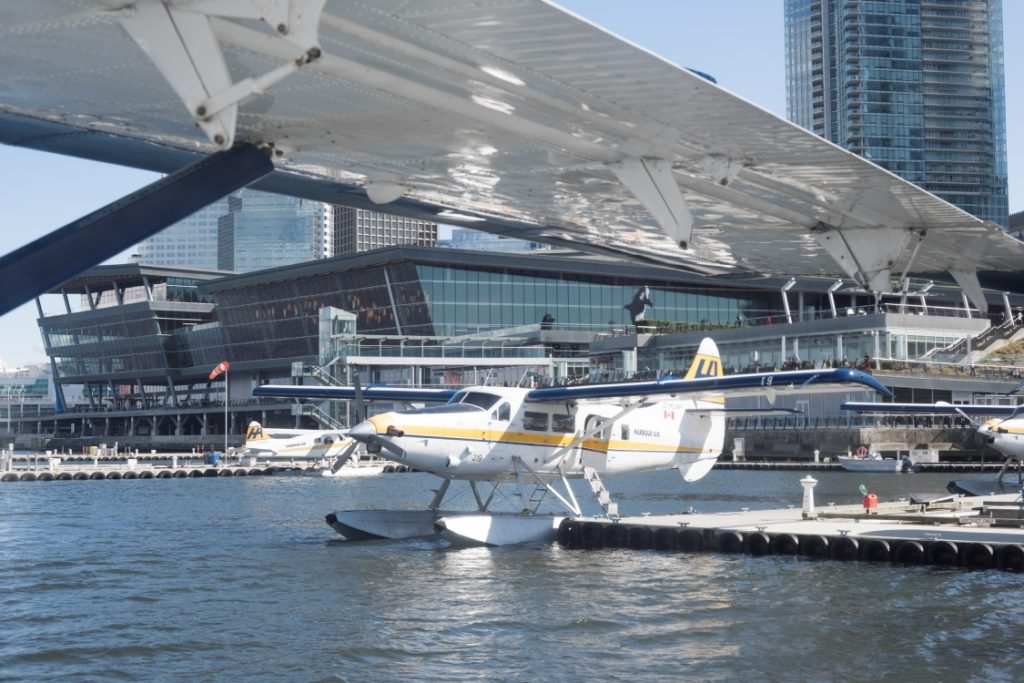Float planes at a small dock in Vancouver.