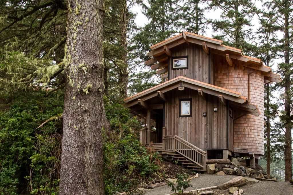 A post-and-beam cedar lodge at Wya Point Resort in Ucluelet, on Vancouver Island.