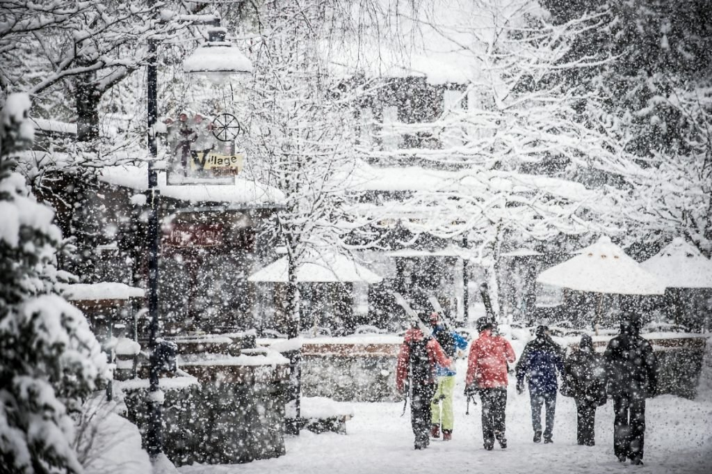 Whistler Village in its winter coat of white.