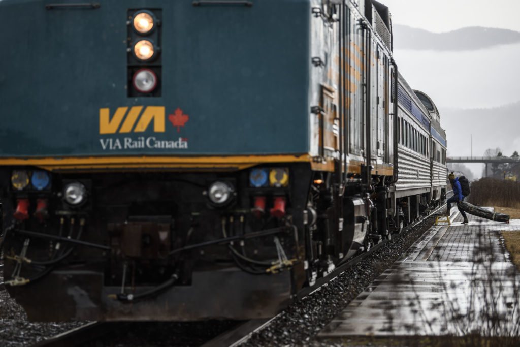 Loading up gear onto the VIA Rail Canada train in Northern British Columbia.