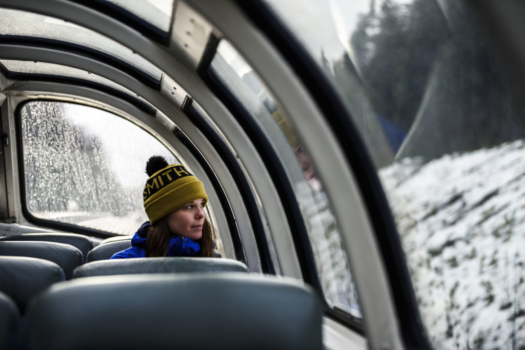 Dreaming of mountains on board VIA Rail Canada.