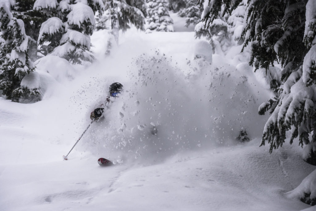 Finding all the fresh snow at Shames Mountain.
