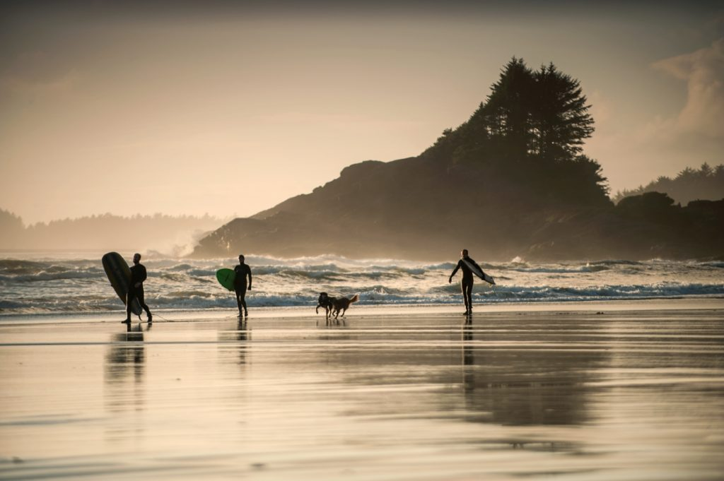 Surfing at Cox Bay in Tofino on Vancouver Island.