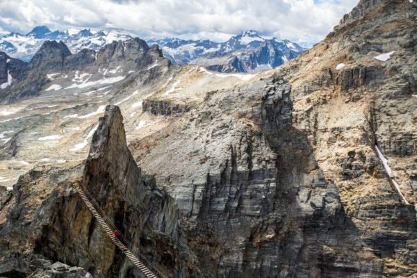 Heli-hiking the Mt. Nimbus via ferrata near Glacier National Park in the Kootenay Rockies
