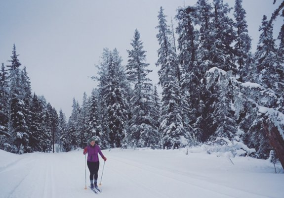 Skiing down a small hill at Stake Lake near Kamloops. Photo: Caitlin Johnson